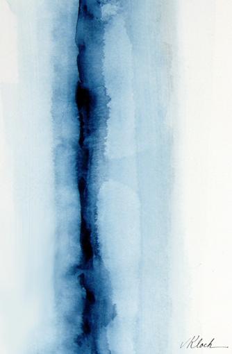"""'Blue Zip' 5"""" x 7"""" watercolor by Victoria Kloch"""
