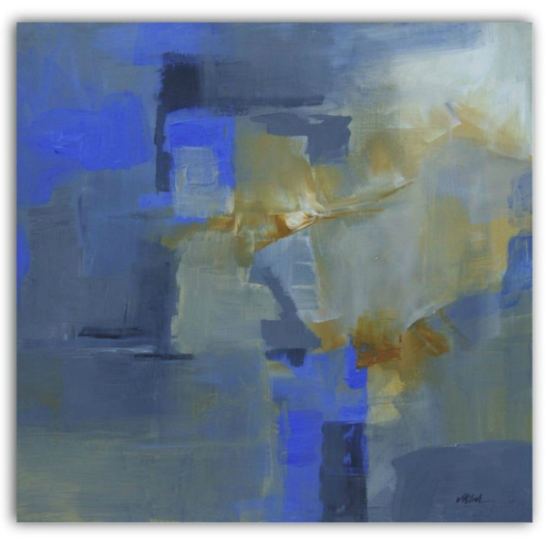 "Title: Blue Passage, 20""x20"" acrylic abstract on canvas by Victoria Kloch"